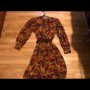 Belted vintage floral fall dress size 14